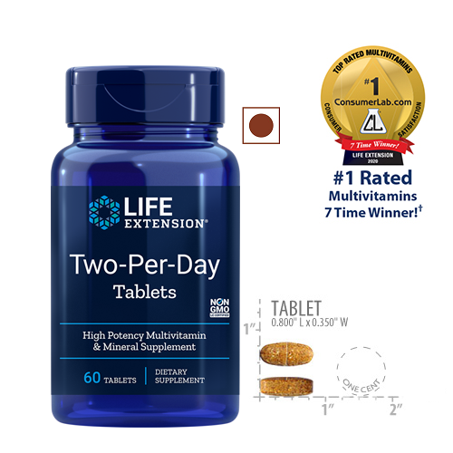 Life Extension Two-Per-Day Multivitamin, 60 Tablets