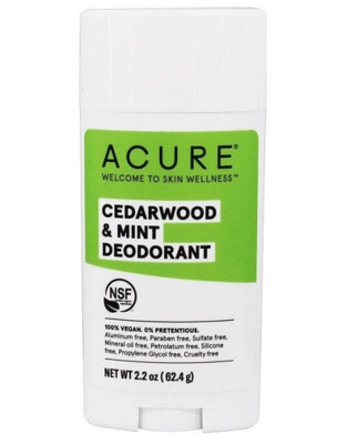Acure 100% Vegan Cedarwood and Mint Deodorant, 2.2 Ounce