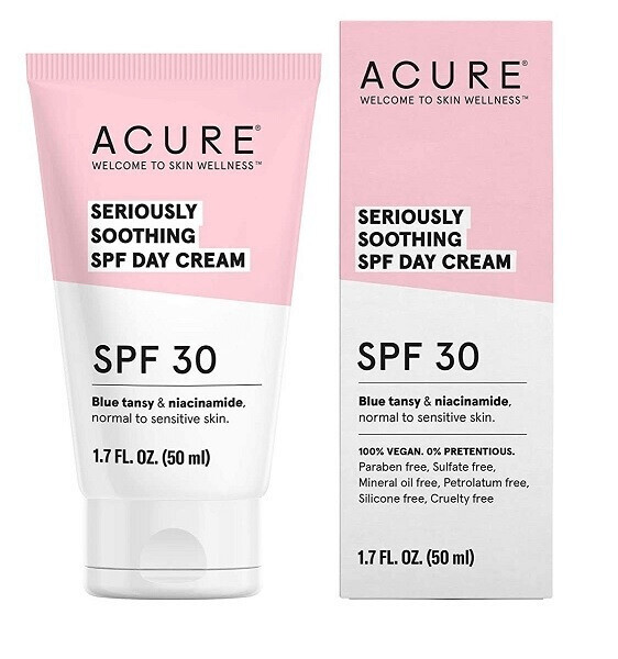 Acure 100% Vegan Seriously Soothing SPF 30 Day Cream, 1.7 fl Ounce