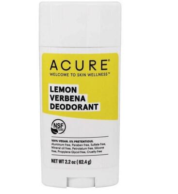 Acure 100% Vegan Deodorant, Lemon Verbena, 2.2 Ounce