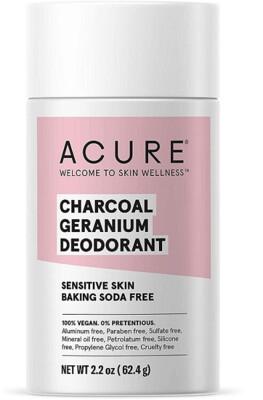 Acure 100% Vegan Charcoal Geranium Deodorant, 2.2 Ounce