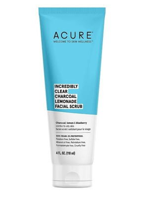 Acure Incredibly Clear Charcoal Lemonade Facial Scrub, 4 fl Ounce