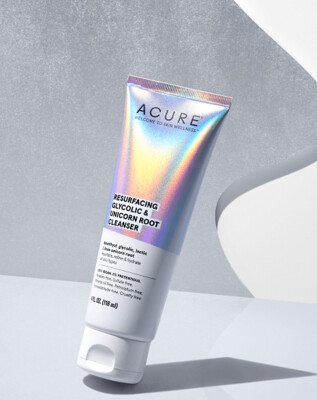 Acure Resurfacing Glycolic and Unicorn Root Cleanser, 4 fl Ounce