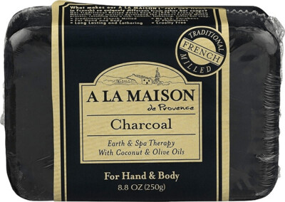 A La Maison Charcoal Soap Bar with Coconut and Olive Oil, 8.8 Ounce