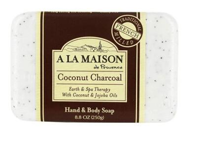 A La Maison Coconut Charcoal Bar Soap, 8.8 Ounce