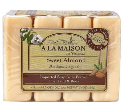 A La Maison Soap Bars, Sweet Almond, Value Pack 3.5 Ounce, 4 Bars/Pack