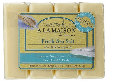 A La Maison Shea Butter Argan Oil Hand and Body Bar Soaps, Fresh Sea Salt, 3.5 Ounce, 4 Bars/Pack