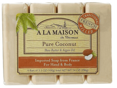 A La Maison Soap Bars, Pure Coconut, Value Pack, 3.5 Ounce, 4 Bars/Pack