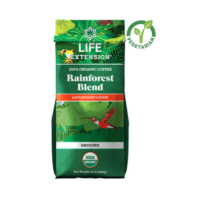 Life Extension Rainforest Blend Ground Coffee, 12 Ounce