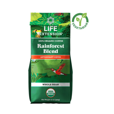 Life Extension Rainforest Blend Whole Bean Coffee, 12 Ounce