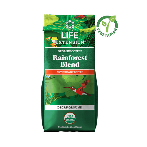 Life Extension Rainforest Blend Decaf Ground Coffee, 12 Ounce
