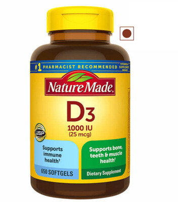 Nature Made Vitamin D3 25 mcg, 650 Softgels