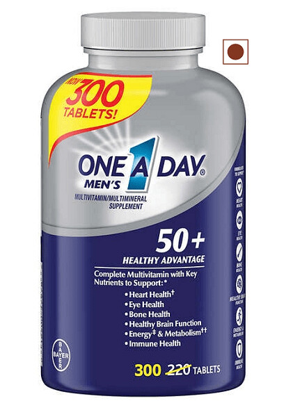 One A Day Men's 50+ Healthy Advantage Multivitamin, 300 Tablets