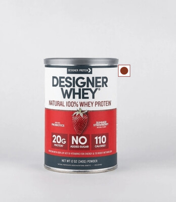 Designer Whey Protein Natural Powder, Summer Strawberry, 12 Ounce