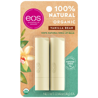 eos Natural and Organic Stick Lip Balm, Vanilla Bean, 0.14 Ounce, 2/Pack