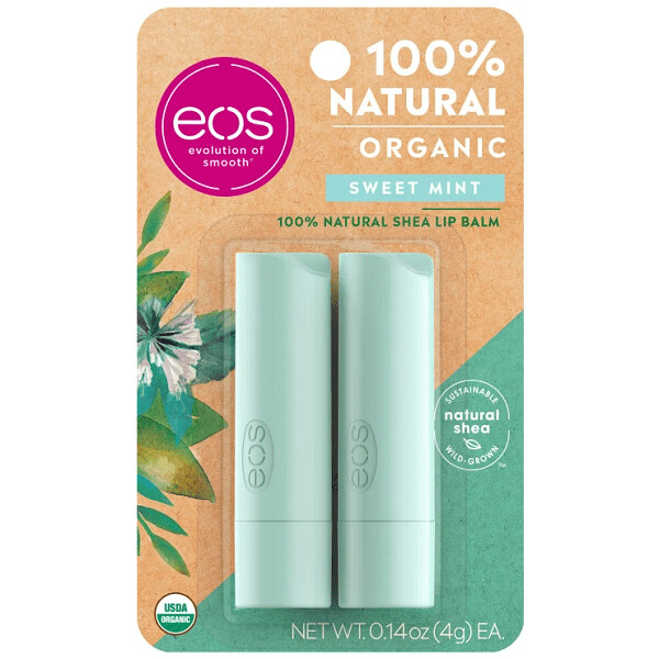 eos Natural and Organic Stick Lip Balm, Sweet Mint, 0.14 Ounce, 2/Pack
