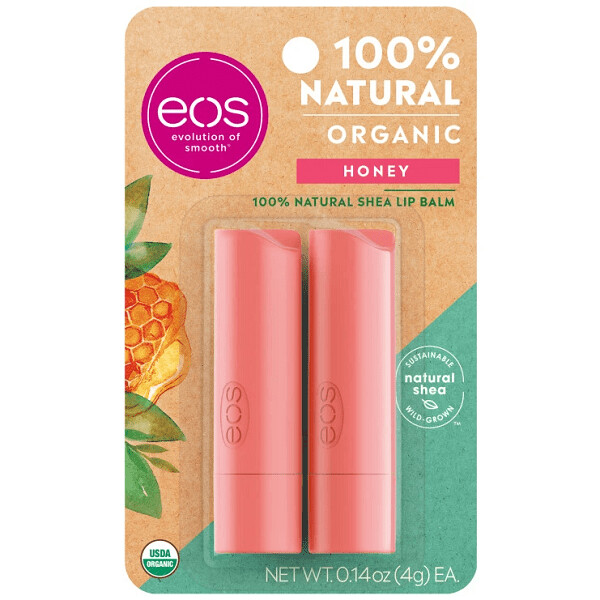 eos Natural and Organic Stick Lip Balm, Honey, 0.14 Ounce, 2/Pack