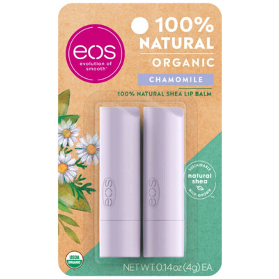 eos Natural and Organic Stick Lip Balm, Chamomile, 0.14 Ounce, 2/Pack