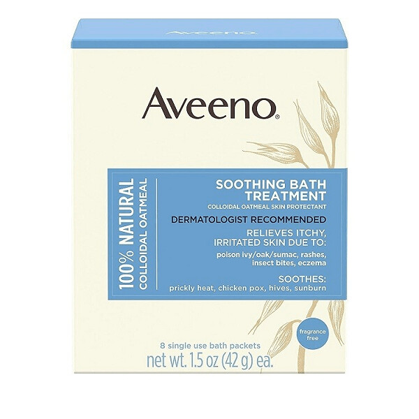 Aveeno Soothing Bath Treatment with 100% Natural Colloidal Oatmeal, 1.5 Oz Sachet (8 Sachets in a Box)