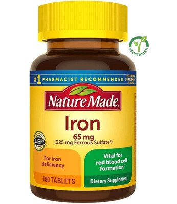 Nature Made Iron 65 mg, 180 Tablets