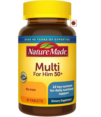 Nature Made Mens Multivitamin 50+ with Vitamin D, 90 Tablets