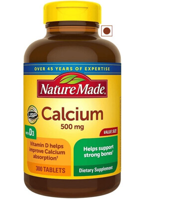 Nature Made Calcium 500 mg Tablets with Vitamin D, 300 Tablets