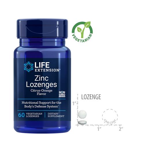 Life Extension Zinc Lozenges, Natural Citrus-Orange Flavor, 60 Lozenges