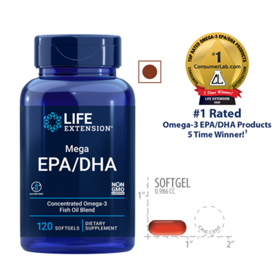 Life Extension Mega Epa Dha, 120 Softgels