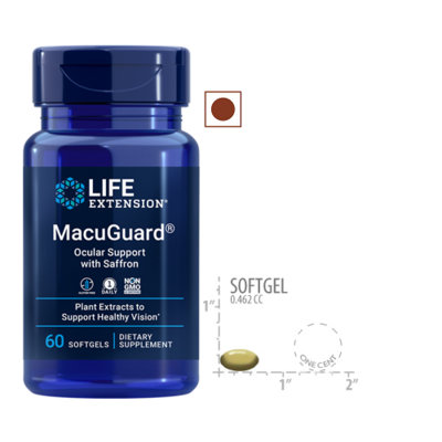 Life Extension MacuGuard Ocular Support with Saffron, 60 Softgels