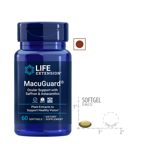 Life Extension MacuGuard Ocular Support with Saffron and Astaxanthin, 60 Softgels