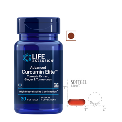 Life Extension Advanced Curcumin Elite Turmeric Extract, Ginger and Turmerones, 30 Softgels