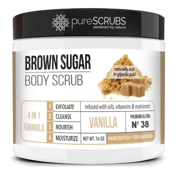 pureSCRUBS Premium Organic Brown Sugar Body Scrub, Vanilla, 16 Ounce