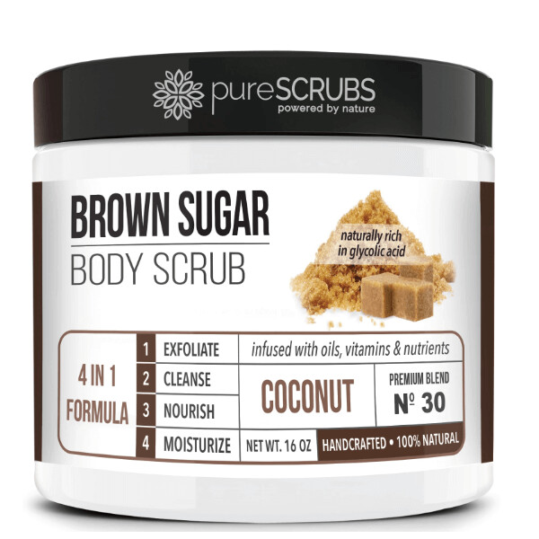 pureSCRUBS Premium Organic Brown Sugar Body Scrub, Coconut, 16 Ounce