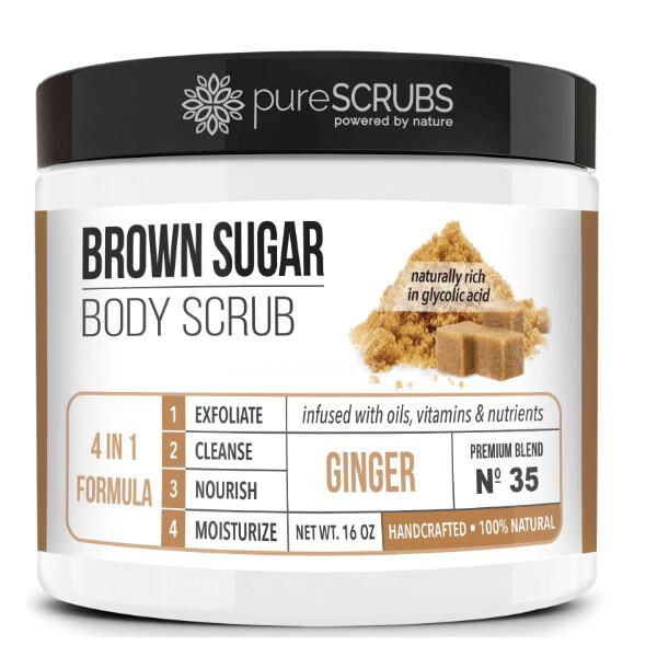 pureSCRUBS Premium Organic Brown Sugar Body Scrub, Ginger, 16 Ounce