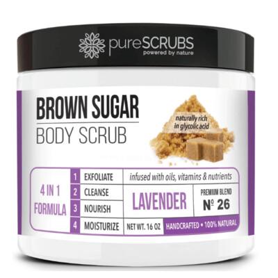 pureSCRUBS Premium Organic Brown Sugar Body Scrub, Lavender, 16 Ounce