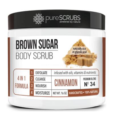 pureSCRUBS Premium Organic Brown Sugar Body Scrub, Cinnamon, 16 Ounce