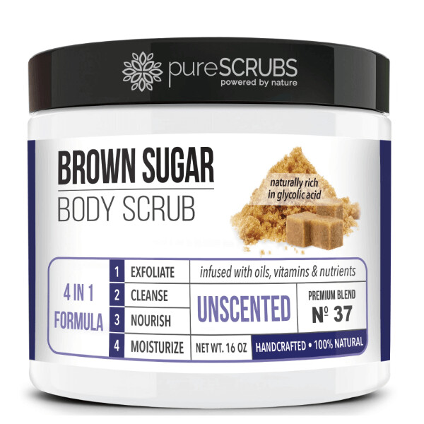 pureSCRUBS Premium Organic Brown Sugar Body Scrub, Unscented, 16 Ounce