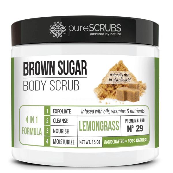 pureSCRUBS Premium Organic Brown Sugar Body Scrub, Lemongrass, 16 Ounce