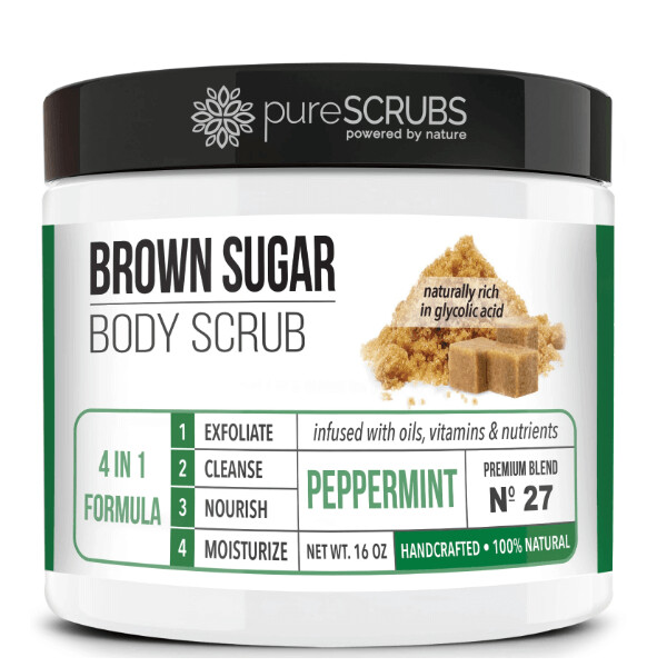 pureSCRUBS Premium Organic Brown Sugar Body Scrub, Peppermint, 16 Ounce