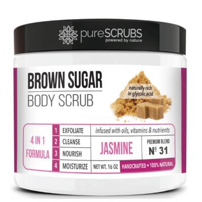 pureSCRUBS Premium Organic Brown Sugar Body Scrub, Jasmine, 16 Ounce