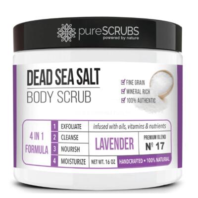 pureSCRUBS Dead Sea Salt Organic Body Scrub, Lavender, 16 Ounce