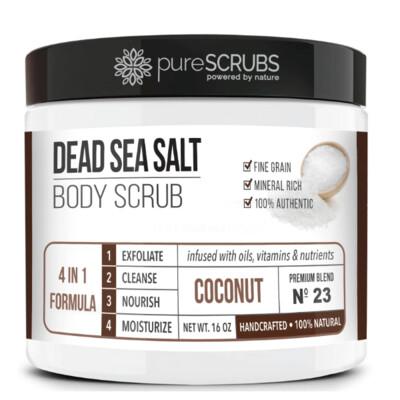 pureSCRUBS Dead Sea Salt Organic Body Scrub, Coconut, 16 Ounce
