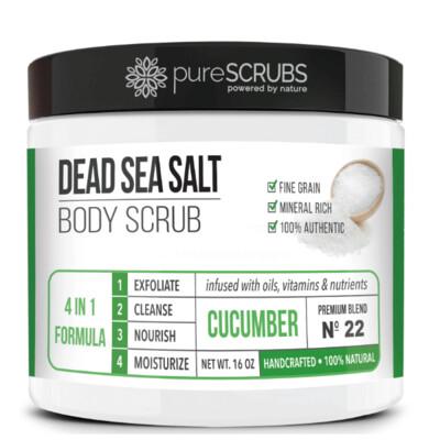 pureSCRUBS Dead Sea Salt Organic Body Scrub, Cucumber, 16 Ounce