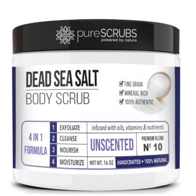 pureSCRUBS Dead Sea Salt Organic Body Scrub, Unscented, 16 Ounce