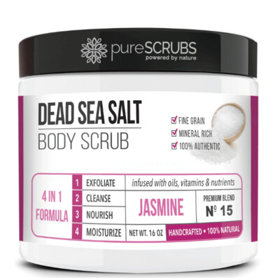 pureSCRUBS Dead Sea Salt Organic Body Scrub, Jasmine, 16 Ounce