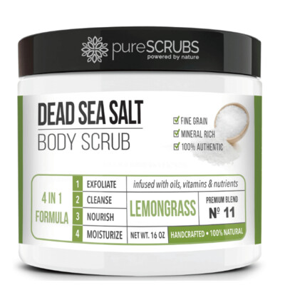 pureSCRUBS Dead Sea Salt Organic Body Scrub, Lemongrass, 16 Ounce