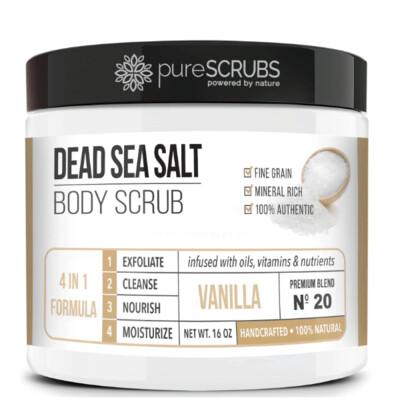 pureSCRUBS Dead Sea Salt Organic Body Scrub, Vanilla, 16 Ounce