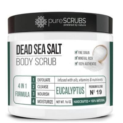 pureSCRUBS Dead Sea Salt Organic Body Scrub, Eucalyptus, 16 Ounce
