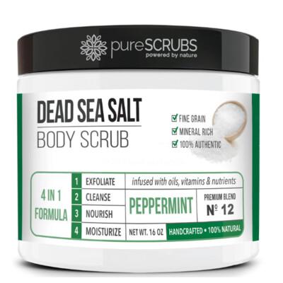 pureSCRUBS Dead Sea Salt Organic Body Scrub, Peppermint, 16 Ounce