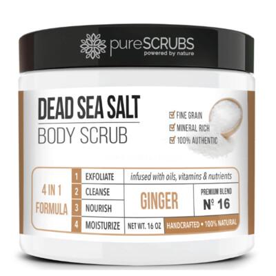 pureSCRUBS Dead Sea Salt Organic Body Scrub, Ginger, 16 Ounce
